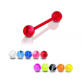 Piercing Langue Boule Multi Couleurs Bioflex
