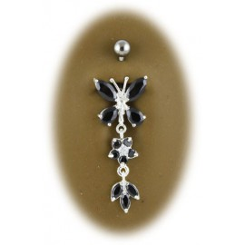 Nombril papillon pendant argent 925