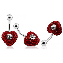 Piercing Nombril Cristal Coeur Rouge