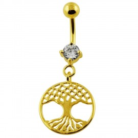 Piercing Nombril Arbre de Vie Pendant Plaqué OR 18K