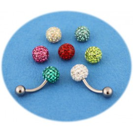 Pack Piercing Nombril Titane G23 Boule Cristal 7 Couleurs