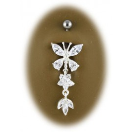 Piercing Nombril Papillon Pendant Argent 925