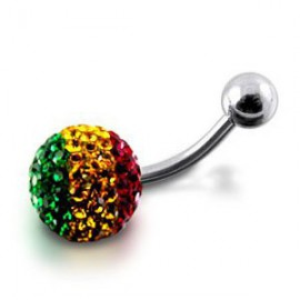 Piercing Nombril Cristal Grosse Boule Couleur Rasta