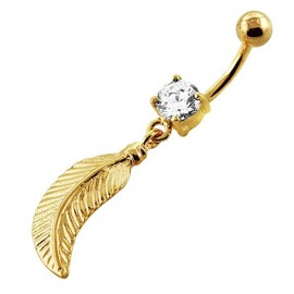 Nombril plume pendant cristal plaquer or 18k