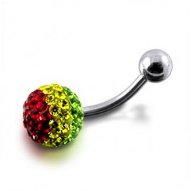 Nombril boule cristal multi-couleurs